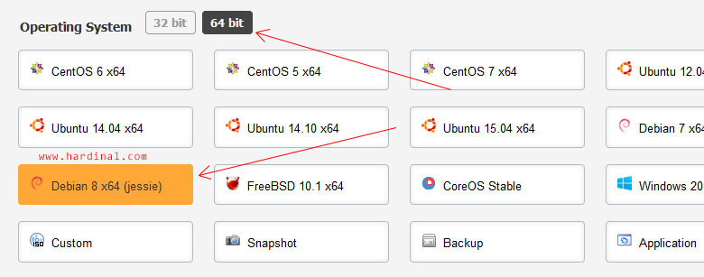 Pilih 64 bit dan Debian 8 (jessie)
