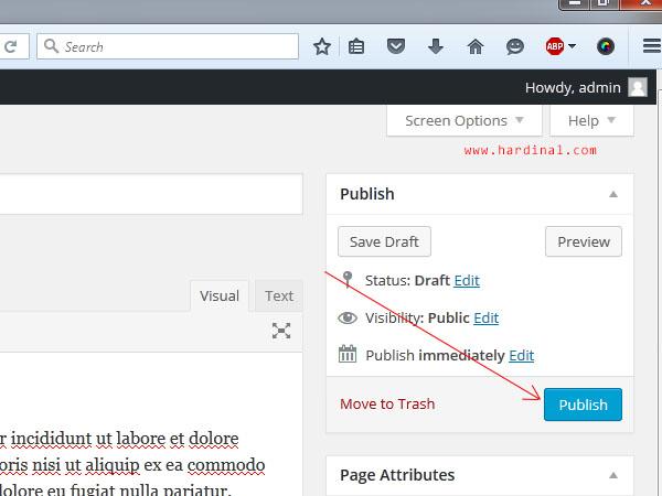 101 publish halaman wordpress