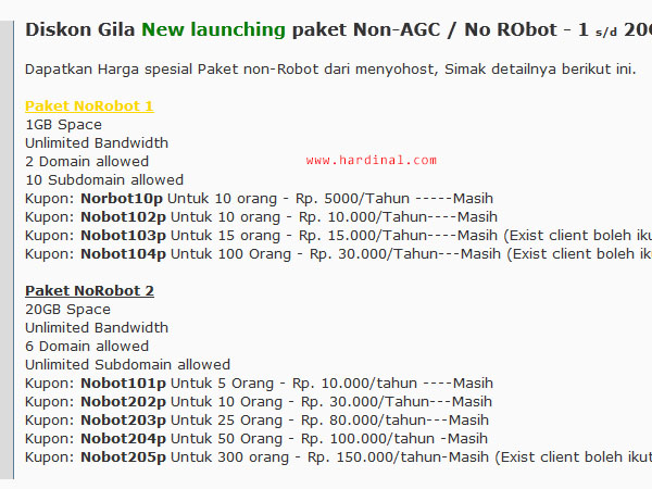 promo hosting murah