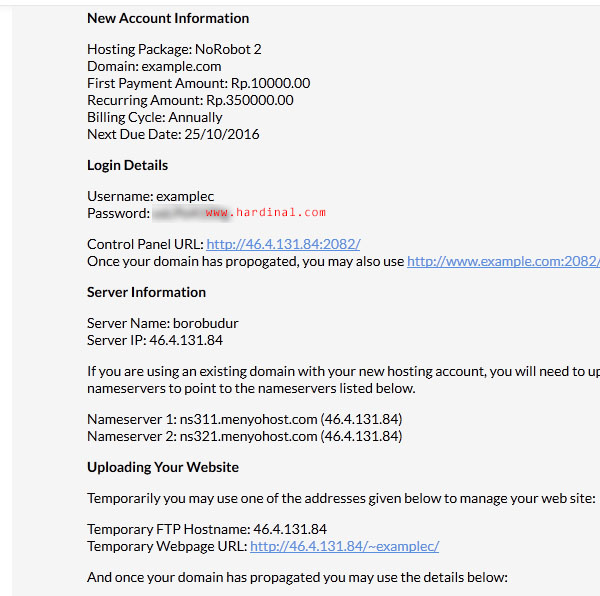 22 memesan domain hosting cpanel