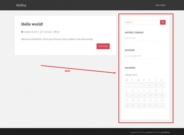 98 wordpress homepage dengan widget baru