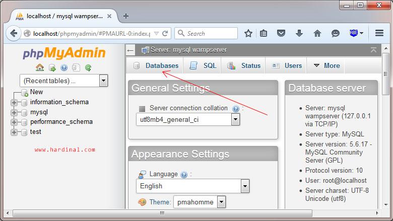 phpmyadmin wamp database menu