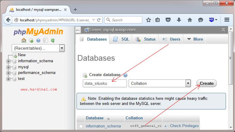 phpmyadmin wamp input database name 1