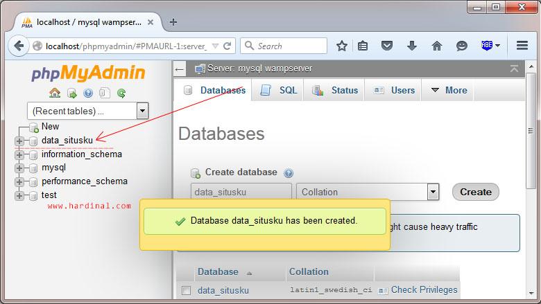 phpmyadmin wamp input database name 2