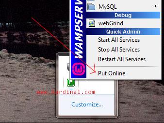 wamp taskbar put online