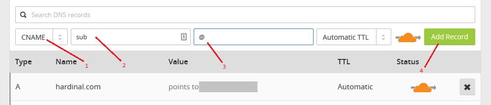 sub domain cloudflare 1